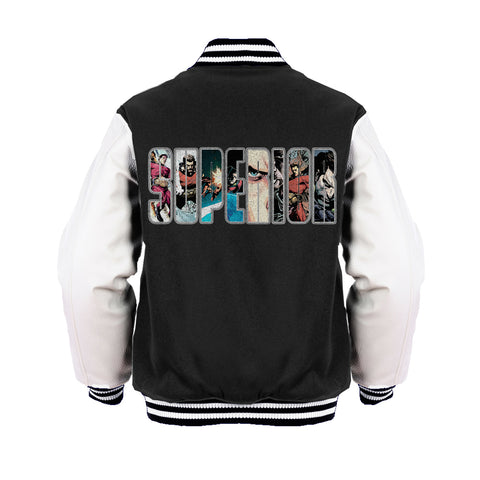 Superior Logo Collage Official Varsity Jacket (Black)