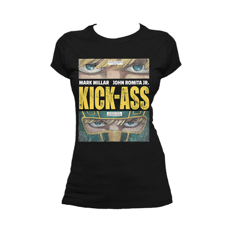 Cool New Kick Ass Logo Close Up Official Women's T-Shirt (Black) - Urban Species Ladies Short Sleeved T-Shirt