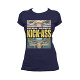 Cool New Kick Ass Logo Close Up Official Women's T-Shirt (Navy) - Urban Species Ladies Short Sleeved T-Shirt