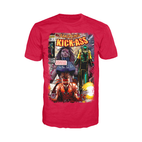 Cool New Kick Ass Remix Cover Amazing Official Men's T-Shirt (Red) - Urban Species Mens Short Sleeved T-Shirt