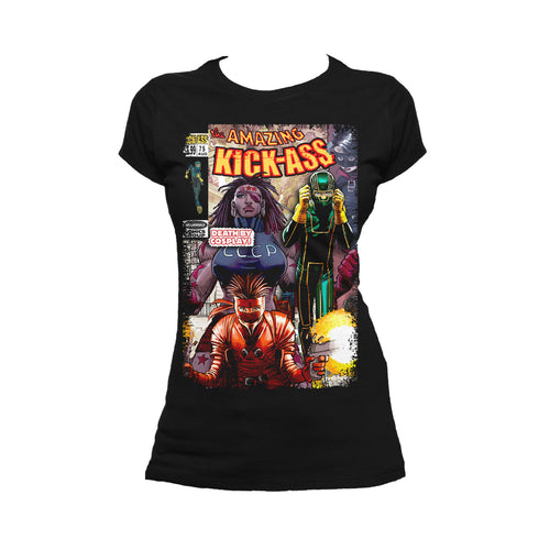 Cool New Kick Ass Remix Cover Amazing Official Women's T-Shirt (Black) - Urban Species Ladies Short Sleeved T-Shirt