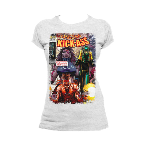 Cool New Kick Ass Remix Cover Amazing Official Women's T-Shirt (Heather Grey) - Urban Species Ladies Short Sleeved T-Shirt