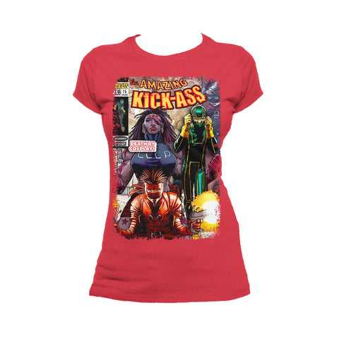 Cool New Kick Ass Remix Cover Amazing Official Women's T-Shirt (Red) - Urban Species Ladies Short Sleeved T-Shirt