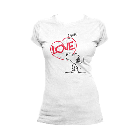 Peanuts Snoopy Comic Love Smak Official Women's T-shirt (White) - Urban Species Ladies Short Sleeved T-Shirt