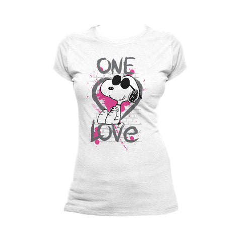 Peanuts Snoopy Graphic One Love Official Women's T-shirt (White) - Urban Species Ladies Short Sleeved T-Shirt