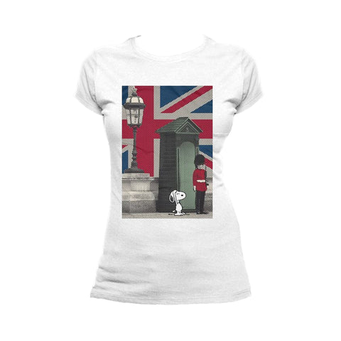 Cool New Peanuts Snoopy Remix UK Beefeater Official Women's T-shirt (White) - Urban Species Ladies Short Sleeved T-Shirt