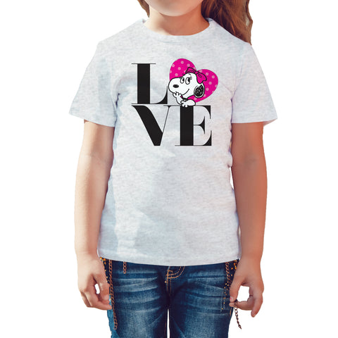 Peanuts Belle Love Official Kid's T-Shirt (Heather Grey) - Urban Species Kids Short Sleeved T-Shirt
