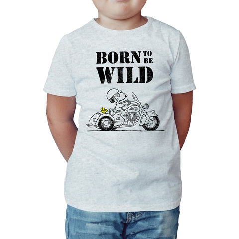 Peanuts Snoopy Born Wild Official Kid's T-Shirt (Heather Grey) - Urban Species Kids Short Sleeved T-Shirt