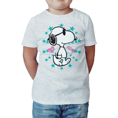 Peanuts Snoopy Cool Official Kid's T-Shirt (Heather Grey) - Urban Species Kids Short Sleeved T-Shirt