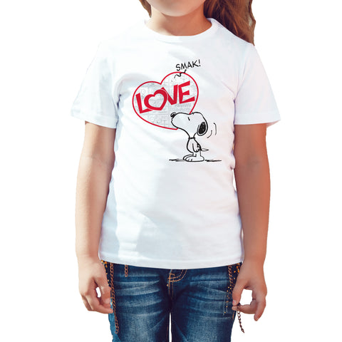 Peanuts Snoopy Love Smak Official Kid's T-Shirt (White) - Urban Species Kids Short Sleeved T-Shirt