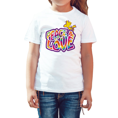 Peanuts Woodstock Peace Love Official Kid's T-Shirt (White) - Urban Species Kids Short Sleeved T-Shirt