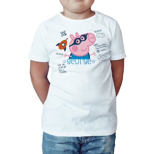 Peppa Pig George Doodle Official Kid's T-Shirt (White) - Urban Species Kids Short Sleeved T-Shirt