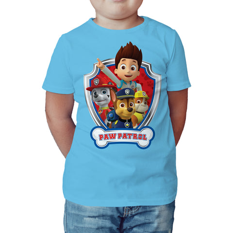 Paw Patrol Badge Official Kid's T-Shirt (Sky Blue) - Urban Species Kids Short Sleeved T-Shirt