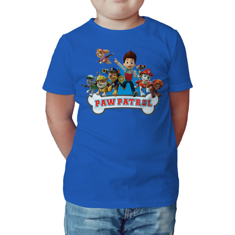 Paw Patrol Group Official Kid's T-Shirt (Royal Blue) - Urban Species Kids Short Sleeved T-Shirt