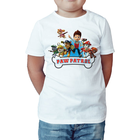 Paw Patrol Group Official Kid's T-Shirt (White) - Urban Species Kids Short Sleeved T-Shirt
