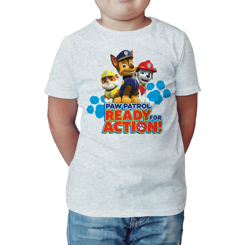 Paw Patrol Ready For Action Official Kid's T-Shirt (Heather Grey) - Urban Species Kids Short Sleeved T-Shirt