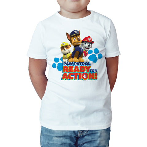 Paw Patrol Ready For Action Official Kid's T-Shirt (White) - Urban Species Kids Short Sleeved T-Shirt
