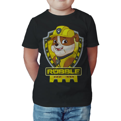 Paw Patrol Rubble Official Kid's T-Shirt (Black) - Urban Species Kids Short Sleeved T-Shirt