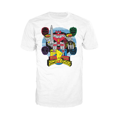 Power Rangers Logo Four Heads Megazord Official Men's T-shirt (White) - Urban Species Mens Short Sleeved T-Shirt
