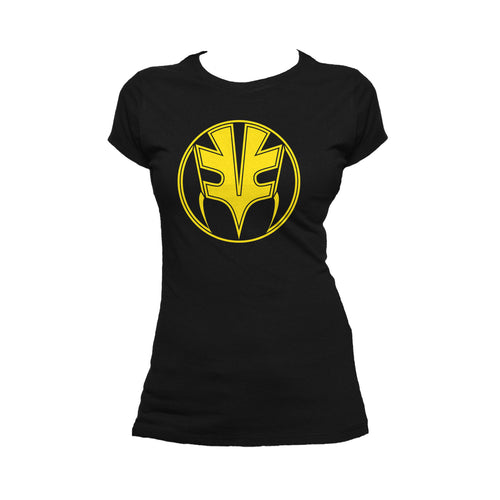 Power Rangers Logo Gold Official Women's T-shirt (Black) - Urban Species Ladies Short Sleeved T-Shirt