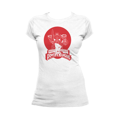 Power Rangers Logo Megazord Circle Red Official Women's T-shirt (White) - Urban Species Ladies Short Sleeved T-Shirt