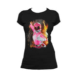 Power Rangers Photo Pink Ranger Close Up Official Women's T-shirt (Black) - Urban Species Ladies Short Sleeved T-Shirt