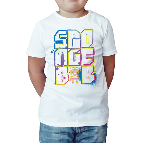 SpongeBob SquarePants Stencil Official Kid's T-Shirt (White) - Urban Species Kids Short Sleeved T-Shirt