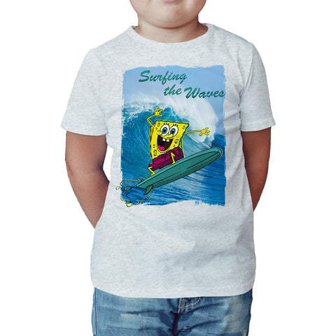 SpongeBob SquarePants Surfing Official Kid's T-Shirt (Heather Grey) - Urban Species Kids Short Sleeved T-Shirt