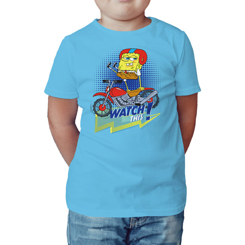 SpongeBob SquarePants Watch This Official Kid's T-Shirt (Sky Blue) - Urban Species Kids Short Sleeved T-Shirt