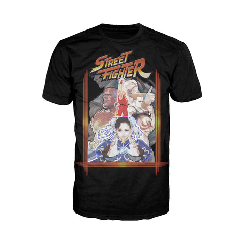 Street Fighter Poster Cover Frame Official Men's T-Shirt (Black) - Urban Species Mens Short Sleeved T-Shirt