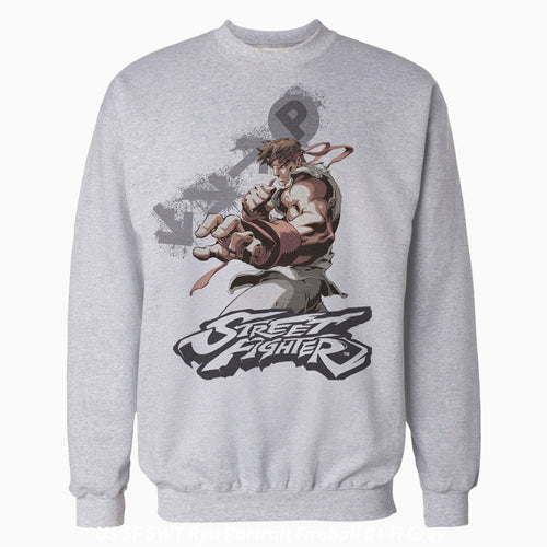Cool New Street Fighter Ryu Portrait Fireball Official Sweatshirt (Heather Grey) - Urban Species Mens Sweatshirt