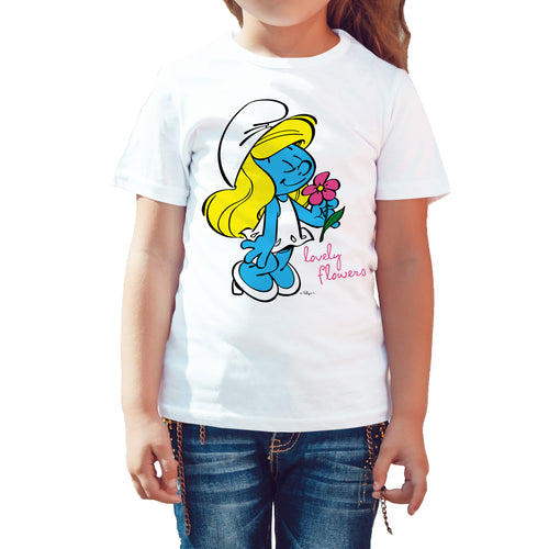 The Smurfs Smurfette Flowers Official Kid's T-Shirt (White) - Urban Species Kids Short Sleeved T-Shirt