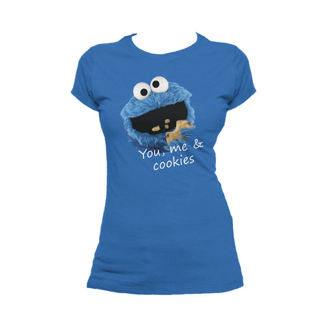 Sesame Street Cookie Monster You & Me Official Women's T-Shirt (Royal Blue) - Urban Species Ladies Short Sleeved T-Shirt
