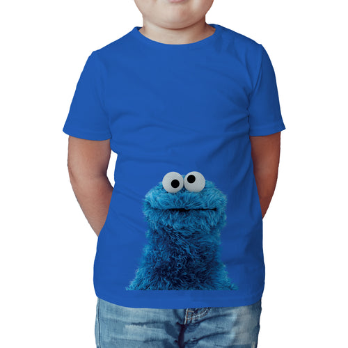 Sesame Street Cookie Monster Photo Official Kid's T-Shirt (Royal Blue) - Urban Species Kids Short Sleeved T-Shirt