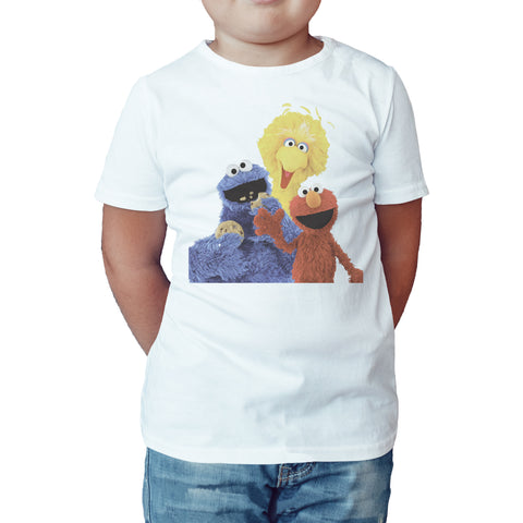 Sesame Street Group Bird Bird Cookie Monster & Elmo Official Kid's T-shirt (White) - Urban Species Kids Short Sleeved T-Shirt