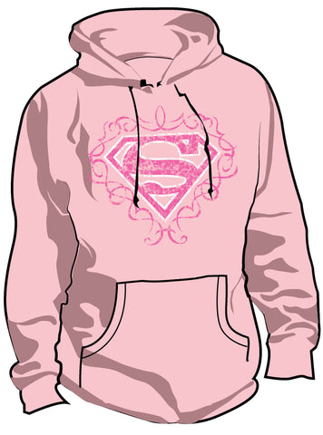 SALE £10 ONLY | DC Supergirl Logo Vintage Pink Ladies Hoody - Urban Species Hoodie