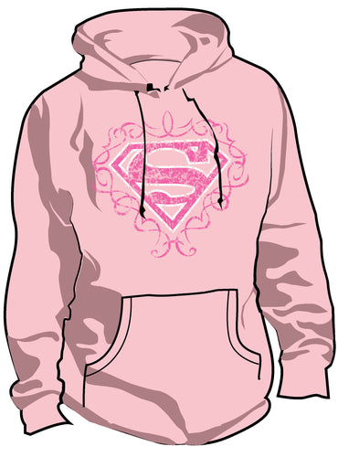 SALE £10 ONLY | DC Supergirl Logo Vintage Pink Ladies Hoody