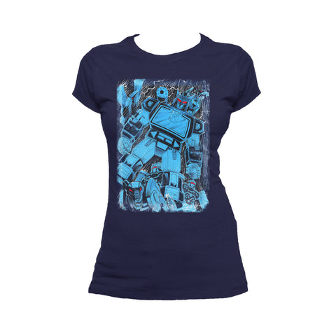 Cool New Transformers Soundwave Family Official Women's T-shirt (Navy) - Urban Species Ladies Short Sleeved T-Shirt