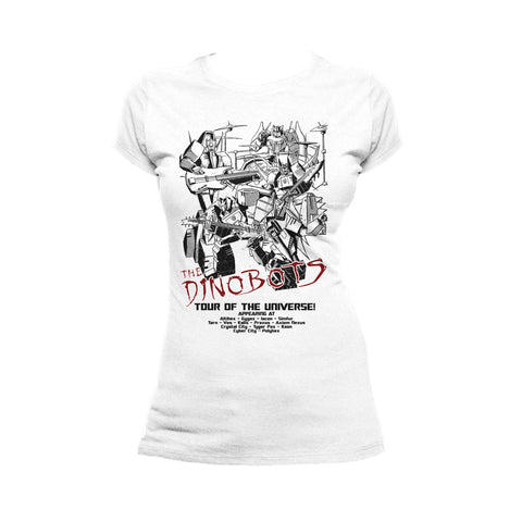 Transformers Rock Dinoband Official Women's T-shirt (White) - Urban Species Ladies Short Sleeved T-Shirt