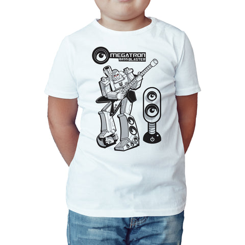 Transformers Rock Megatron Bass Blaster Official Kid's T-Shirt (White) - Urban Species Kids Short Sleeved T-Shirt