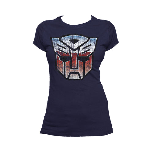 Transformers Autobot Shield Distressed Official Women's T-shirt (Navy) - Urban Species Ladies Short Sleeved T-Shirt
