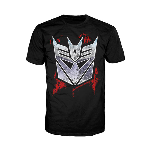 Cool New Transformers Decepticons Shield Grunge Official Men's T-shirt (Black) - Urban Species Mens Short Sleeved T-Shirt