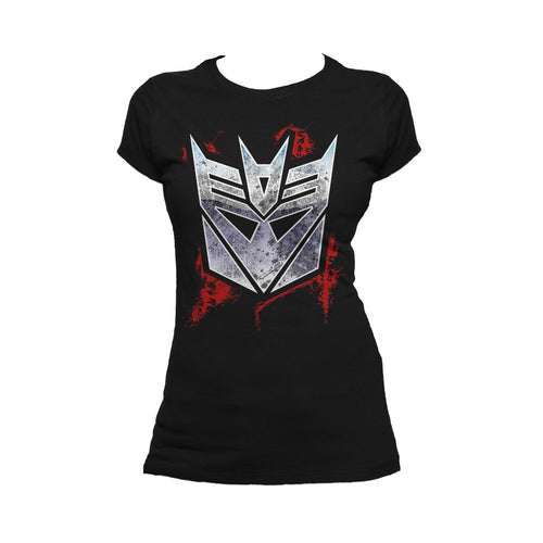 Cool New Transformers Decepticons Shield Grunge Official Women's T-shirt (Black) - Urban Species Ladies Short Sleeved T-Shirt