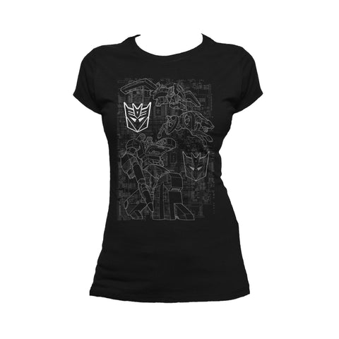 Transformers Soundwave Circuit Board Official Women's T-shirt (Black) - Urban Species Ladies Short Sleeved T-Shirt