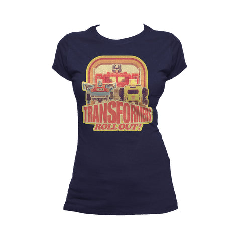 Transformers Toy TF Roll Out Official Women's T-shirt (Navy) - Urban Species Ladies Short Sleeved T-Shirt