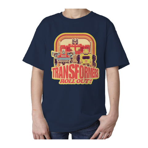 Transformers Toy TF Roll Out Official Kid's T-shirt (Navy) - Urban Species Kids Short Sleeved T-Shirt