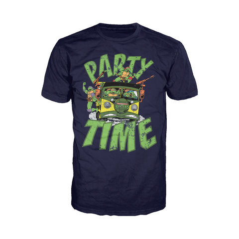 TMNT Gang Retro Party Wagon Official Men's T-Shirt (Navy) - Urban Species Mens Short Sleeved T-Shirt