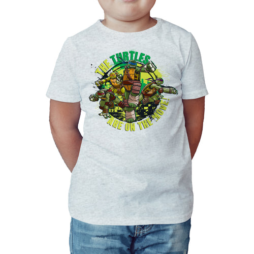 TMNT Gang Move Official Kid's T-Shirt (Heather Grey) - Urban Species Kids Short Sleeved T-Shirt