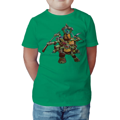TMNT Gang Pose Official Kids T-shirt (Green) - Urban Species Kids Short Sleeved T-Shirt