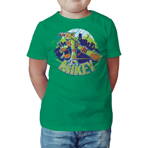 TMNT Michaelangelo Mikey Official Kid's T-Shirt (Green) - Urban Species Kids Short Sleeved T-Shirt